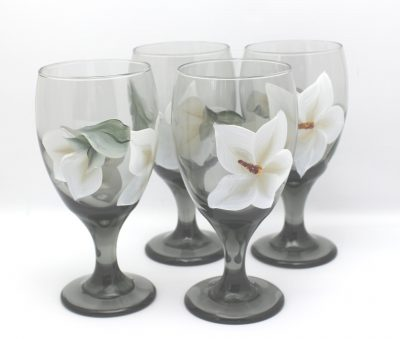 hand painted magnolia water glass set