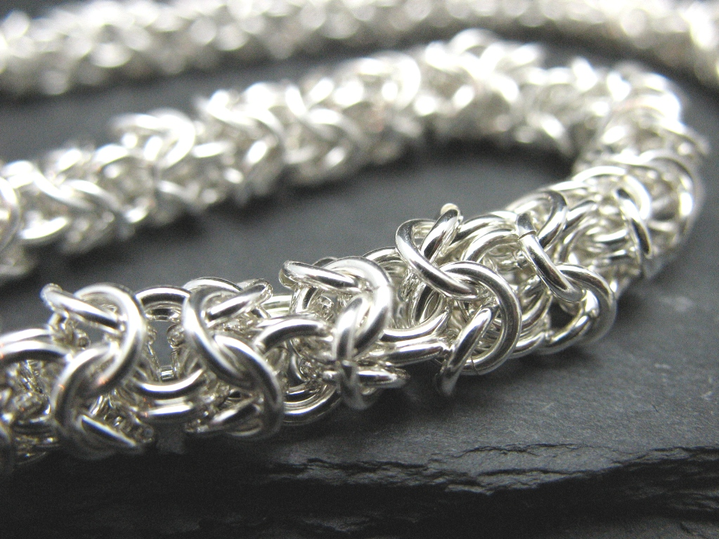 chainmaille necklace sterling silver roundmaille