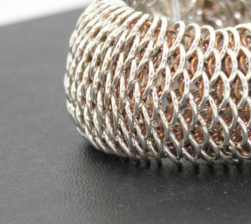 handmade sterling silver dragonscale chainmail bracelet